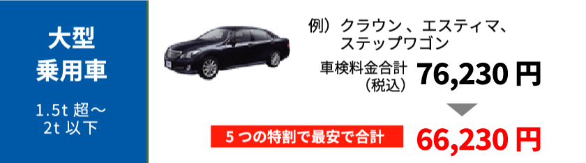 大型乗用車の最大割引の適用例